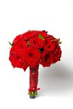 Bräutlicher roter Roseblumenstrauß Lizenzfreies Stockbild
