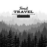Bråte skissar naturaffischen med berg Vektorn sörjer bakgrund för trädskogkonturn royaltyfri illustrationer