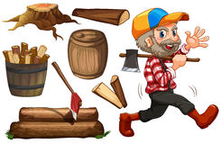Bråtestålar och trä stock illustrationer