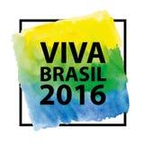 Brésilien 2016, titre, cadre sur la texture d'aquarelle Image stock