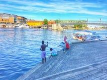 Brésiliens pêchant en Norvège Image stock