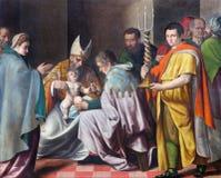 BRÍXIA, ITÁLIA: Circuncisão da pintura pequena de Jesus em di Cristo de Chiesa del Santissimo Corpo da igreja por artista desconh Fotos de Stock Royalty Free