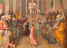 BRÍXIA, ITÁLIA: Fresco doze Jesus idoso no templo por Lattanzio Gambara em di Cristo de Chiesa del Santissimo Corpo da igreja Foto de Stock Royalty Free