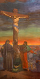 BRÍXIA, ITÁLIA, 2016: O fresco da crucificação em di Christo Re de Chiesa da igreja com os fresco por Giuseppe Mozzoni ilustração stock