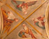 BRÍXIA, ITÁLIA, 2016: O fresco do teto de quatro evangelistas em Chiesa di San Pietro em Olvieto & em x28; Chapel& x29 do St Barb Fotos de Stock
