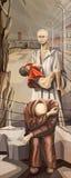 BRÍXIA, ITÁLIA, 2016: A pintura do mártir santamente Maximilian Kolbe no campo de concentração Oswiecim ilustração stock