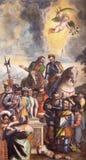 BRÍXIA, ITÁLIA, 2016: A pintura & o x22; Davanti do cadono do che do idoli do degli do miracolo do IL um Sant& x27; Alessandro Fotografia de Stock Royalty Free