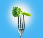 Brócolis em uma forquilha Fotos de Stock