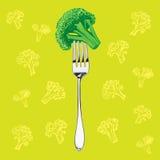 Brócolis verdes em uma forquilha ilustração do vetor