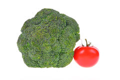 Bróculi con el tomate Imágenes de archivo libres de regalías