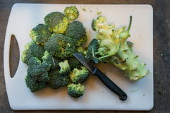 Bróculi cortado con un cuchillo Fotografía de archivo libre de regalías