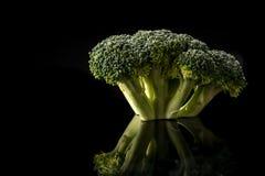 Bróculi en fondo negro Fotografía de archivo