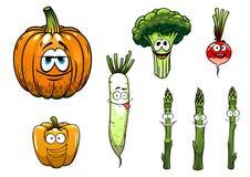 Bróculi, espárrago, rábano, calabaza y pimienta Imágenes de archivo libres de regalías