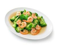 Bróculi sofrito comida sana tailandesa con el camarón Foto de archivo libre de regalías