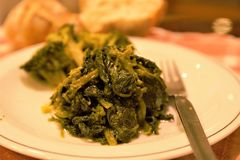 Bróculi vegetal italiano y comida tipical del friarielli del sud Italia del napoli en la tabla fotografía de archivo libre de regalías