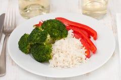 Bróculi y pimienta roja Imagenes de archivo