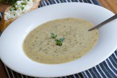 Bróculos e sopa do stilton imagem de stock