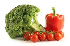 Bróculos, pimenta e tomates Imagem de Stock