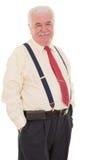 Bródkowy starszy biznesmen w brasach Fotografia Royalty Free