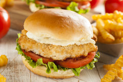 Bröad fisksmörgås med tartarsås Royaltyfria Bilder