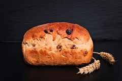 Bröd för russin för vete för matbakgrund organiskt franskt helt på den svarta bakgrundsplattan Fotografering för Bildbyråer