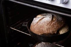 Bröd i ugnen Royaltyfria Bilder