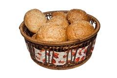 Bröd i vide- korg Royaltyfri Fotografi