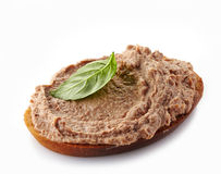 Bröd med leverpate arkivfoto