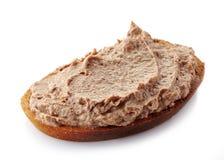 Bröd med leverpate arkivfoton