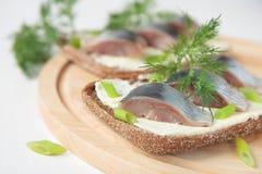 Bröd med smör, sillen och dill Fotografering för Bildbyråer