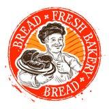 Bröd och bagaren stämpel också vektor för coreldrawillustration royaltyfri illustrationer