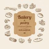 Bröd och bakelse skissar Arkivbilder