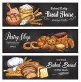 Bröd- och bullebanret för bageri shoppar mallen stock illustrationer