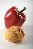 Bröd och pepper_1 jpg Arkivfoto