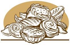 Bröd och pies. vektor illustrationer