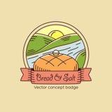 Bröd och salt linje stilvektoremblem eller logo vektor illustrationer