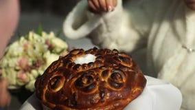Bröd och sault på bröllopet Brudgummen strilar brödet med salt Ett symbol av lyckligt och långt gift liv av arkivfilmer