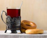 bröd ringer tea royaltyfri foto