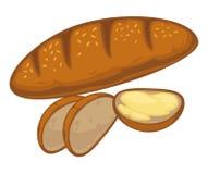 Bröd släntrar, eller symbolen för vektorn för vetebagelbullen för bageri shoppar Arkivbilder