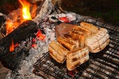 Bröd som göras på lägereld Arkivfoto