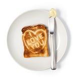 bröd som jag älskar, säger rostade dig Royaltyfria Foton