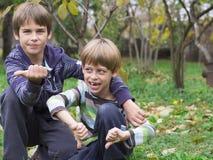 bröder som leker två Royaltyfri Foto