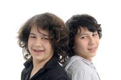 bröder som ler white Royaltyfria Bilder