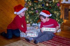 Bröder undersöker gåvor under trädet royaltyfria bilder