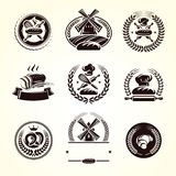 Brödetikettuppsättning Samlingssymbolsbröd vektor royaltyfri illustrationer