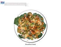 Brödfruktsallad, en av mest berömd mat i Mikronesien stock illustrationer
