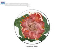 Brödfruktsallad med fisken, populär mat i Mikronesien royaltyfri illustrationer