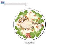 Brödfruktsallad med höna, populär mat i Mikronesien vektor illustrationer