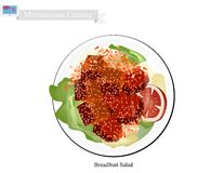 Brödfruktsallad med kött, populär mat i Mikronesien royaltyfri illustrationer