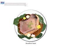 Brödfruktsallad med kött, populär mat i Mikronesien vektor illustrationer
